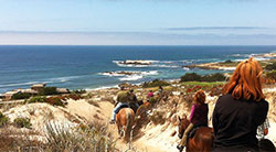Family horse back riding on the Monterey Peninsula.