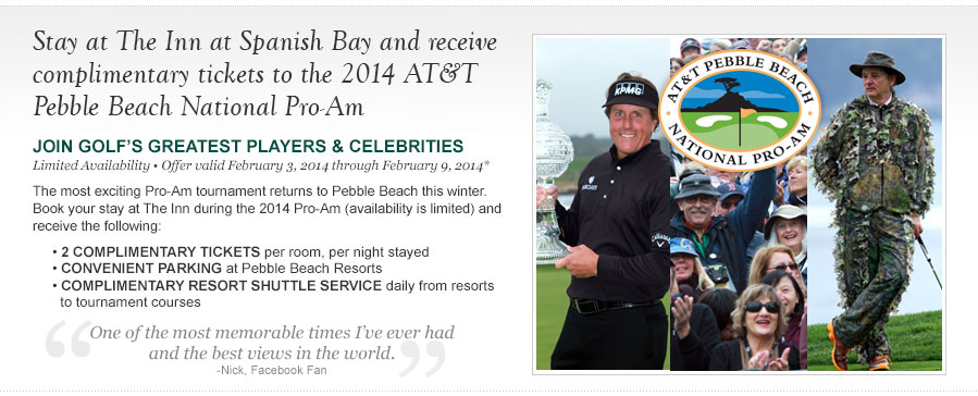Stay at The Inn and receive complimentary tickets to the 2014 AT&T Pebble Beach National Pro-Am.