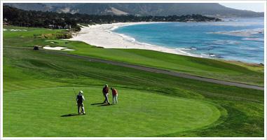 Golfers walking course