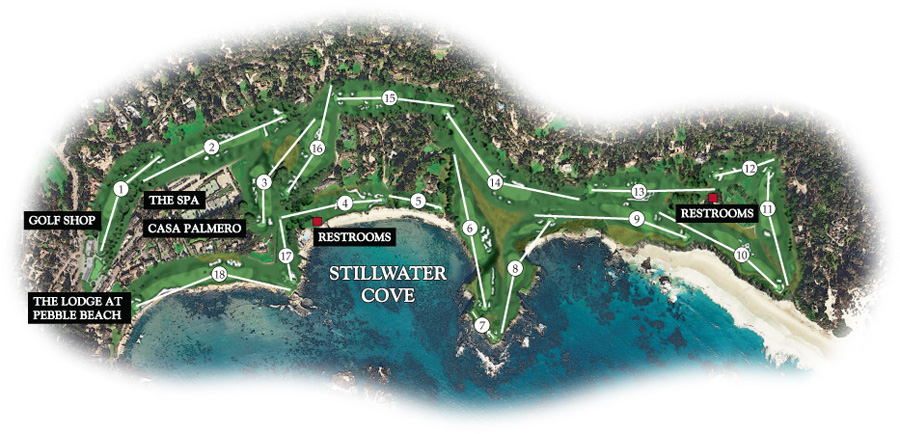 Pebble Beach Course Map Map of Pebble Beach Golf Links