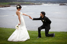 Groom getting down on one knee